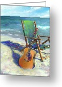 Tropical Beach Painting Greeting Cards - Martin Goes to the Beach Greeting Card by Andrew King