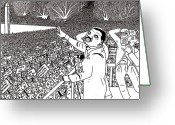 Protest Drawings Greeting Cards - Martin luther king drawing Greeting Card by Karen Elzinga
