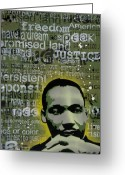 Spraypaint Greeting Cards - Martin Luther King Greeting Card by Iosua Tai Taeoalii