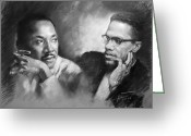 Civil Rights Greeting Cards - Martin Luther King Jr and Malcolm X Greeting Card by Ylli Haruni