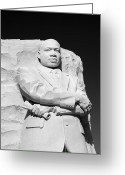 Martin Luther King Greeting Cards - Martin Luther King Jr Memorial - black and white Greeting Card by Brendan Reals