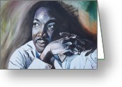 Civil Rights Greeting Cards - Martin Luther King Jr  MLK Greeting Card by Lee Madrid
