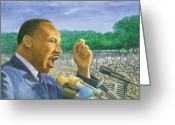Washington Pastels Greeting Cards - Martin Luther King Jr. Speech Greeting Card by Robert Casilla