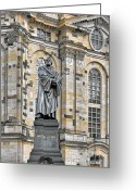Protestant Greeting Cards - Martin Luther Monument Dresden Greeting Card by Christine Till