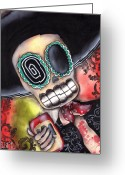 Skull Painting Greeting Cards - Martin Mariachi Greeting Card by  Abril Andrade Griffith