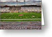 Bleachers Greeting Cards - Martin Stadium the Home of Cougar Football Greeting Card by David Patterson