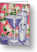 Martini Drawings Greeting Cards - Martini and Shaker Greeting Card by Jim Lyons