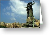 Martyr Photo Greeting Cards - Martyrs statues in Beirut Greeting Card by Sami Sarkis