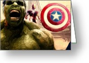 Captain America Greeting Cards - Marvel Avengers Hulk Movie Art Signed Prints available at laartwork.com Coupon Code KODAK Greeting Card by Leon Jimenez