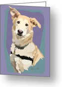 Dog Portrait Digital Art Greeting Cards - Marvelous Mix Greeting Card by Kris Hackleman