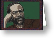 Motown Greeting Cards - Marvin Gaye  Greeting Card by Suzanne Gee