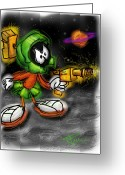 Saturn Greeting Cards - Marvin the Martian Greeting Card by Russell Pierce