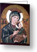 Christ Child Greeting Cards - Mary and Jesus Greeting Card by Lena Day
