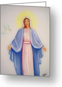 Religious Greeting Cards - Mary Greeting Card by Joni McPherson