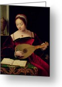 Headdress Greeting Cards - Mary Magdalene Playing the Lute Greeting Card by Master of the Female Half Lengths