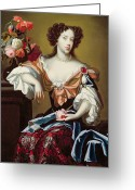 Cleavage Greeting Cards - Mary of Modena  Greeting Card by Simon Peeterz Verelst