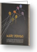 Vintage Movie Poster Greeting Cards - Mary Poppins Greeting Card by Megan Romo