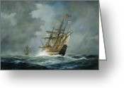 Waves Painting Greeting Cards - Mary Rose  Greeting Card by Richard Willis 