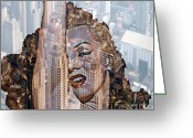 Marylin Greeting Cards - MARYLIN and city Greeting Card by Yury Bashkin