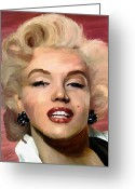 Portraits Greeting Cards - Marylin Monroe Greeting Card by James Shepherd