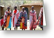 Roberto Edmanson-harrison Greeting Cards - Masai Villagers Greeting Card by Roberto Edmanson-Harrison