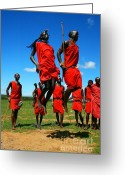 African Warrior Greeting Cards - Masai warrior dancing traditional dance Greeting Card by Anna Omelchenko