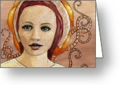 Red Woman Greeting Cards - Mascara Greeting Card by Ethan Harris