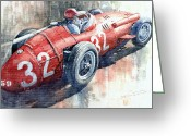 Sport Painting Greeting Cards - Maserati 250F J M Fangio Monaco GP 1957 Greeting Card by Yuriy  Shevchuk