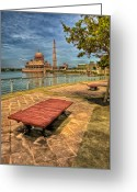 Islamic Greeting Cards - Masjid Putra Greeting Card by Adrian Evans