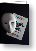 Aged Pyrography Greeting Cards - Mask And Joker Greeting Card by Kantapong Phatichowwat