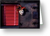 Face Greeting Cards - Mask by window Greeting Card by Garry Gay