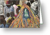 Costumes Painting Greeting Cards - Mask Ceremony Burkina Faso Greeting Card by Reb Frost
