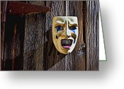 Face Shadow Greeting Cards - Mask on barn door Greeting Card by Garry Gay