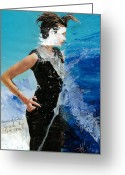 Crash Mixed Media Greeting Cards - Masked Girl Struck by the Truth Greeting Card by Margit Ilika