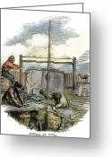 Construction Yard Greeting Cards - MASONS AT WORK, c1865 Greeting Card by Granger