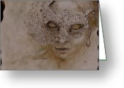 Woman Greeting Cards - Masquerade Greeting Card by Enzie Shahmiri