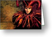 Clown Greeting Cards - Masquerade Greeting Card by Photodream Art