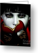 Sad Greeting Cards - Masquerade Greeting Card by Shanina Conway