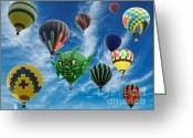 Balloon Festival Greeting Cards - Mass Hot Air Balloon Launch Greeting Card by Paul Ward