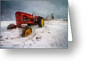 Snow Greeting Cards - Massey Harris Mustang Greeting Card by Bob Orsillo