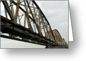 Large Steel Cross Greeting Cards - Massive Old Railway Bridge Greeting Card by Yali Shi