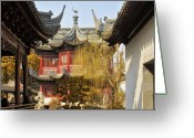 Red Building Greeting Cards - Massive upturned eaves - Yuyuan Garden Shanghai China Greeting Card by Christine Till
