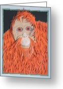Orange Reliefs Greeting Cards - Master Of The Jungle Greeting Card by John Hebb