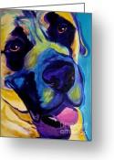 Yellow Dog Greeting Cards - Mastiff - Lazy Sunday Greeting Card by Alicia VanNoy Call