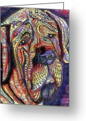 Outsider Art Mixed Media Greeting Cards - Mastiff Greeting Card by Robert Wolverton Jr