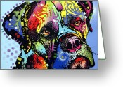 Animal Artist Greeting Cards - Mastiff Warrior Greeting Card by Dean Russo