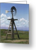 Jimmie Greeting Cards - Matagorda Beach Windmill Greeting Card by Jimmie Bartlett