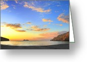 Crete Greeting Cards - Matala Bay sunset Greeting Card by Paul Cowan