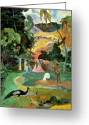 Gauguin; Paul (1848-1903) Greeting Cards - Matamoe or Landscape with Peacocks Greeting Card by Paul Gauguin