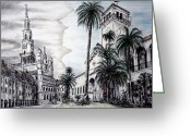 Streets Drawings Greeting Cards - Matching up Greeting Card by Danuta Bennett